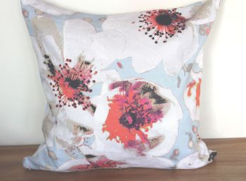 Large Floral Zippered Linen Cushion