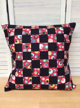 Mid Mod Circles In Red Quilted Cushion Cover