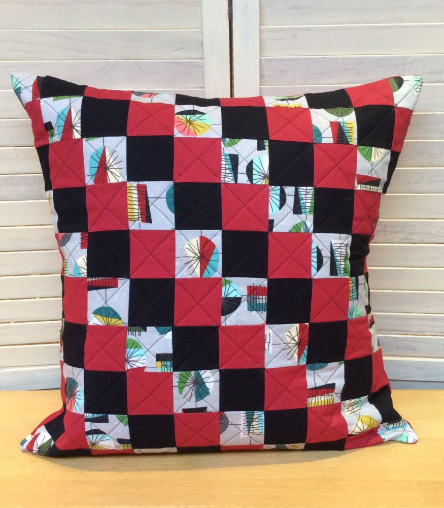 Mid Mod Main Grey Quilted Cushion