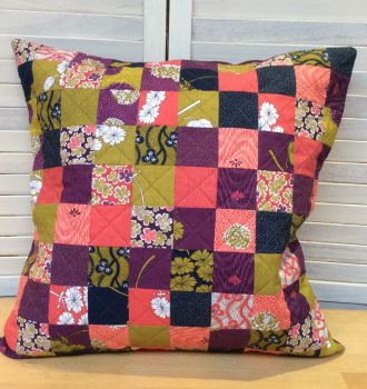 Coral and Purple Quilted Patchwork Cushion
