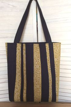 New Horizons Quilted Tote Bag (Black and Mustard)