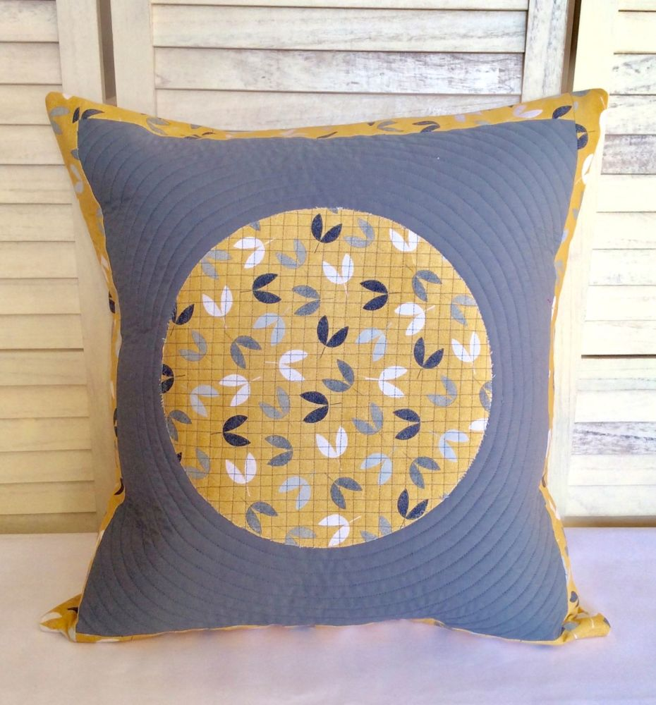 Scattered Seeds (Circle on Grey) Quilted Cushion Cover