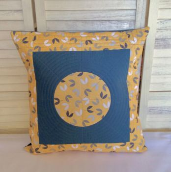 Scattered Seeds (Circle on Teal) Quilted Cushion Cover