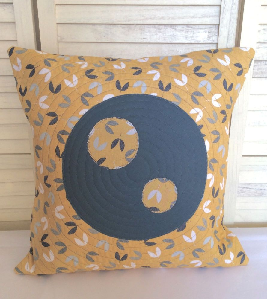 Scattered Seeds (Circles on Teal) Quilted Cushion Cover
