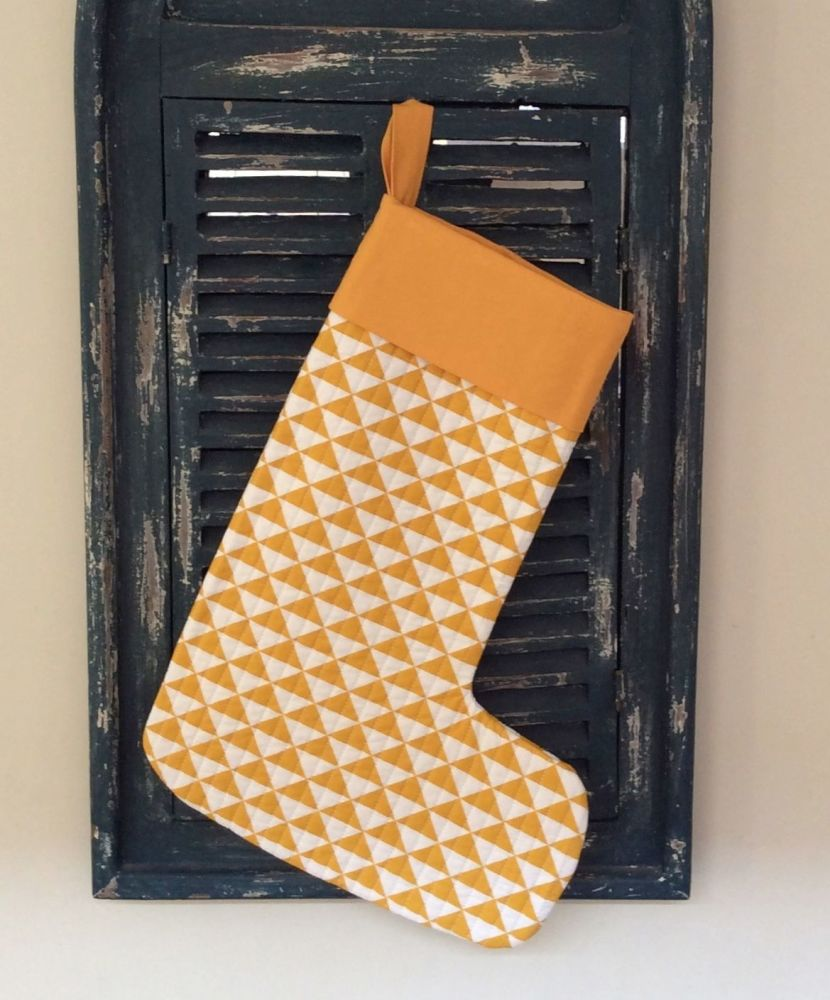 Yellow Geometric Quilted Christmas Stocking