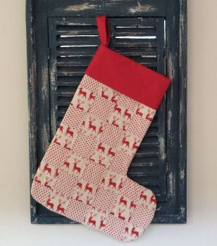 Reindeer and Star Quilted Patchwork Christmas Stocking