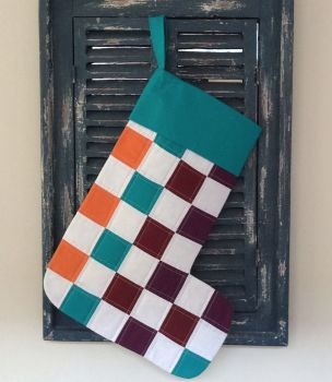 Multi-Coloured Quilted Patchwork Christmas Stocking