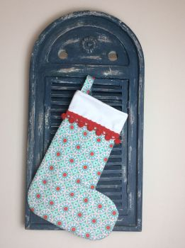 Ardently Austen  Quilted Christmas Stocking with Pom-Poms