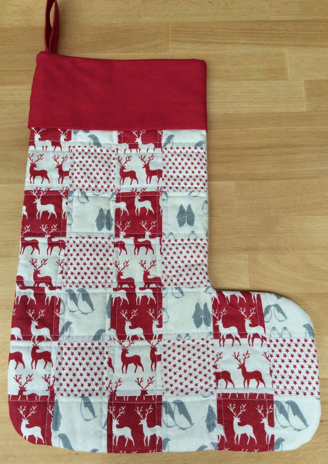 Reindeer, Penguin and Stars Quilted Patchwork Christmas Stocking