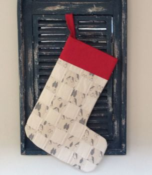 Quilted Patchwork Christmas Stocking (Penguins and Red Cuff)(1)