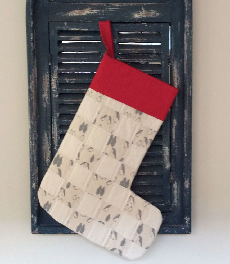 Quilted Patchwork Christmas Stocking (Penguins and Red Cuff)