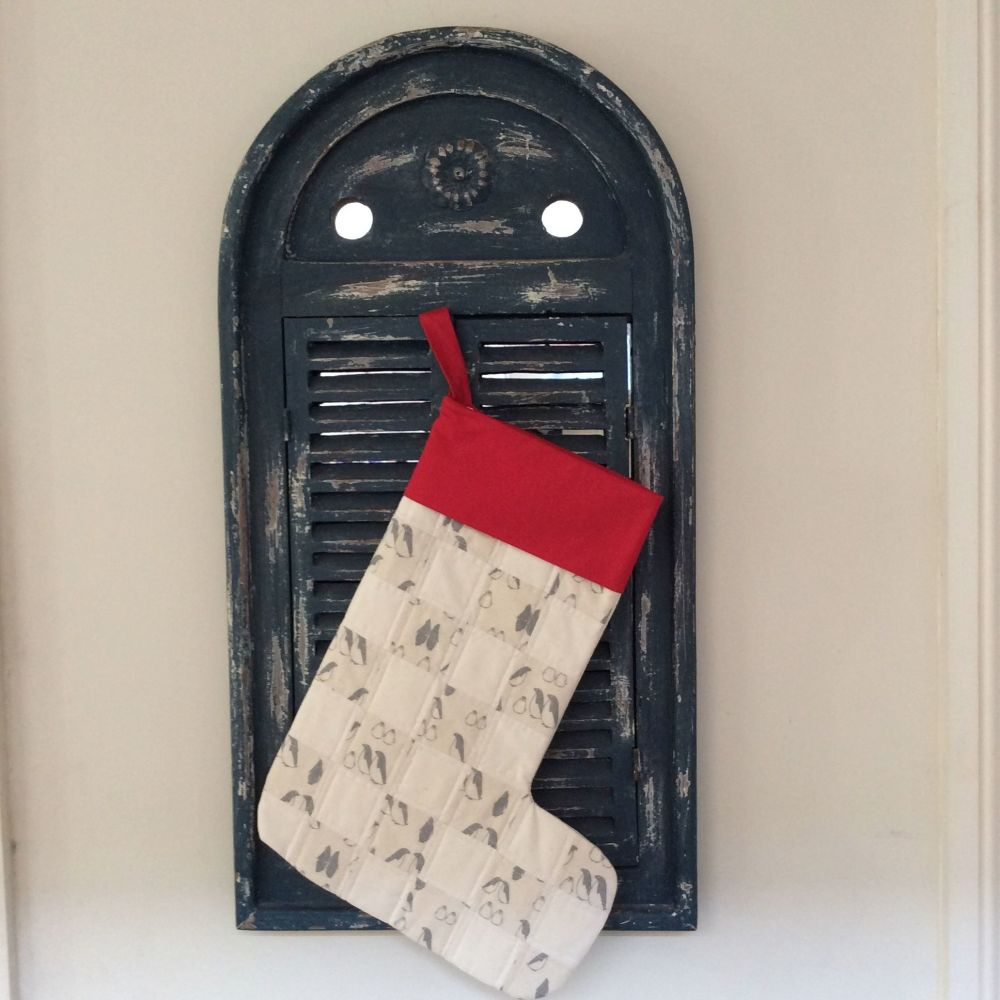 Quilted Patchwork Christmas Stocking (Penguins and Red Cuff)(2)