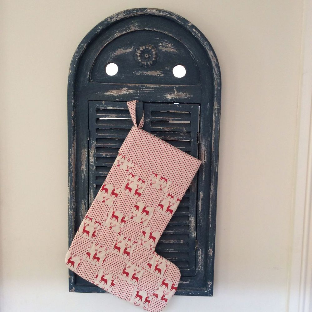 Quilted Patchwork Christmas Stocking (Reindeer and Stars)