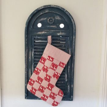 Quilted Patchwork Christmas Stocking (Reindeer and Stars)(2)