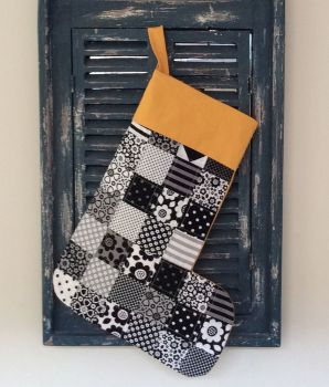Funky Black and White Quilted Christmas Stocking