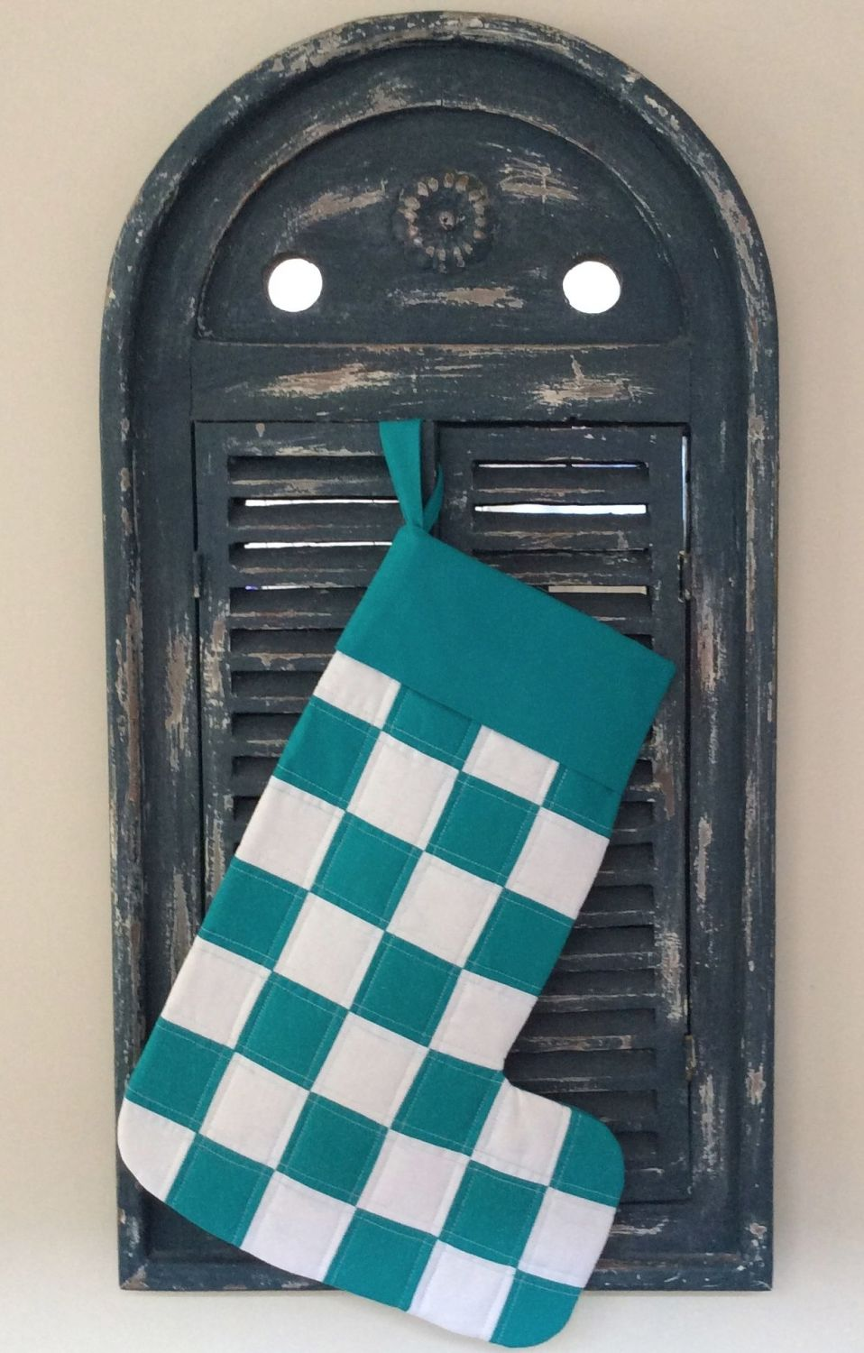 Turquoise and White Patchwork Christmas Stocking