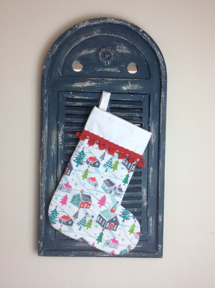 Christmas Dreams Quilted Christmas Stocking with Pom-Poms