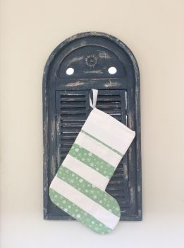 Christmas Wish Quilted Christmas Stocking (Horizontal Stripes with White Loop)