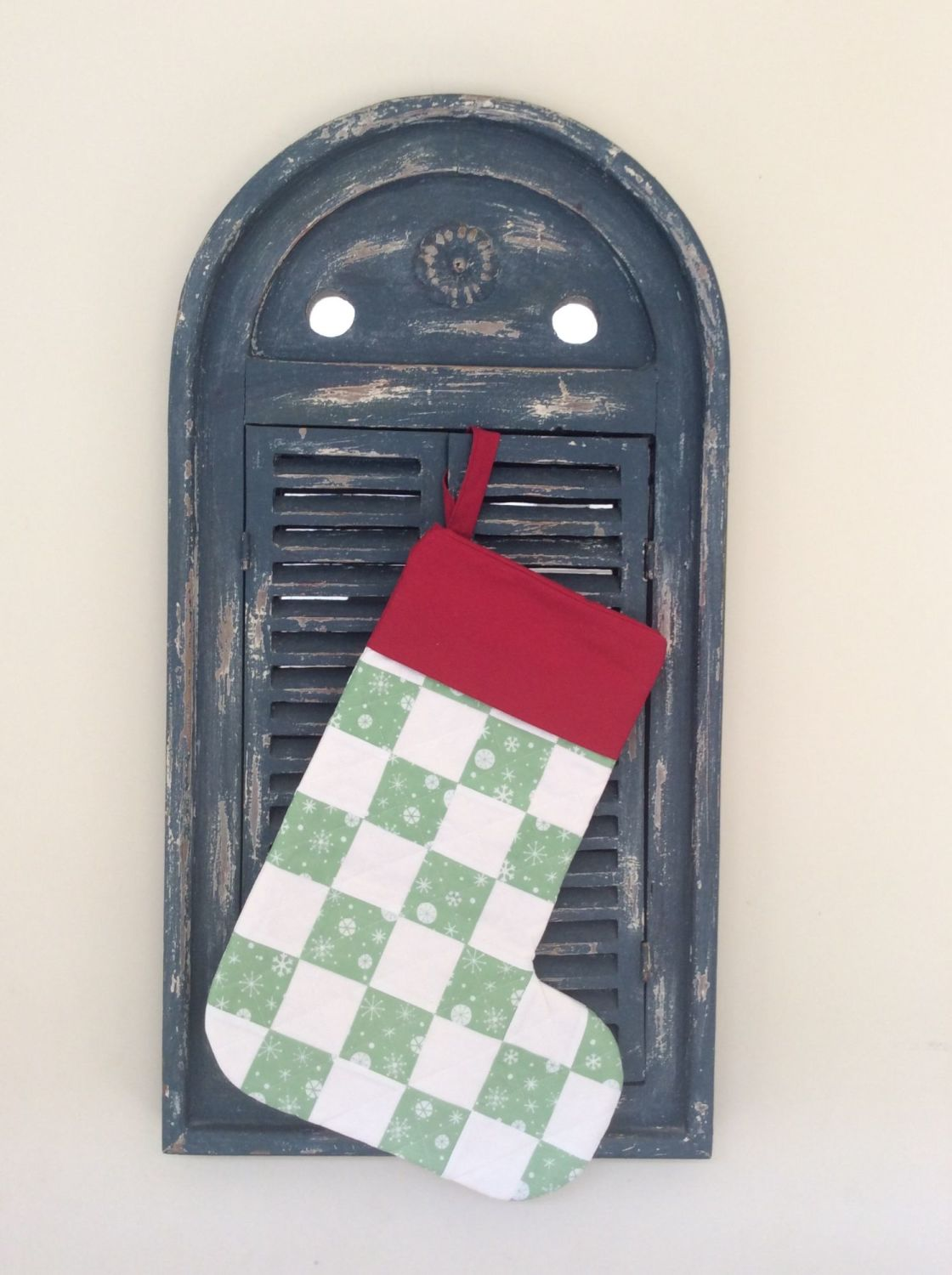 Christmas Wish Quilted Patchwork Christmas Stocking (with Red Cuff)