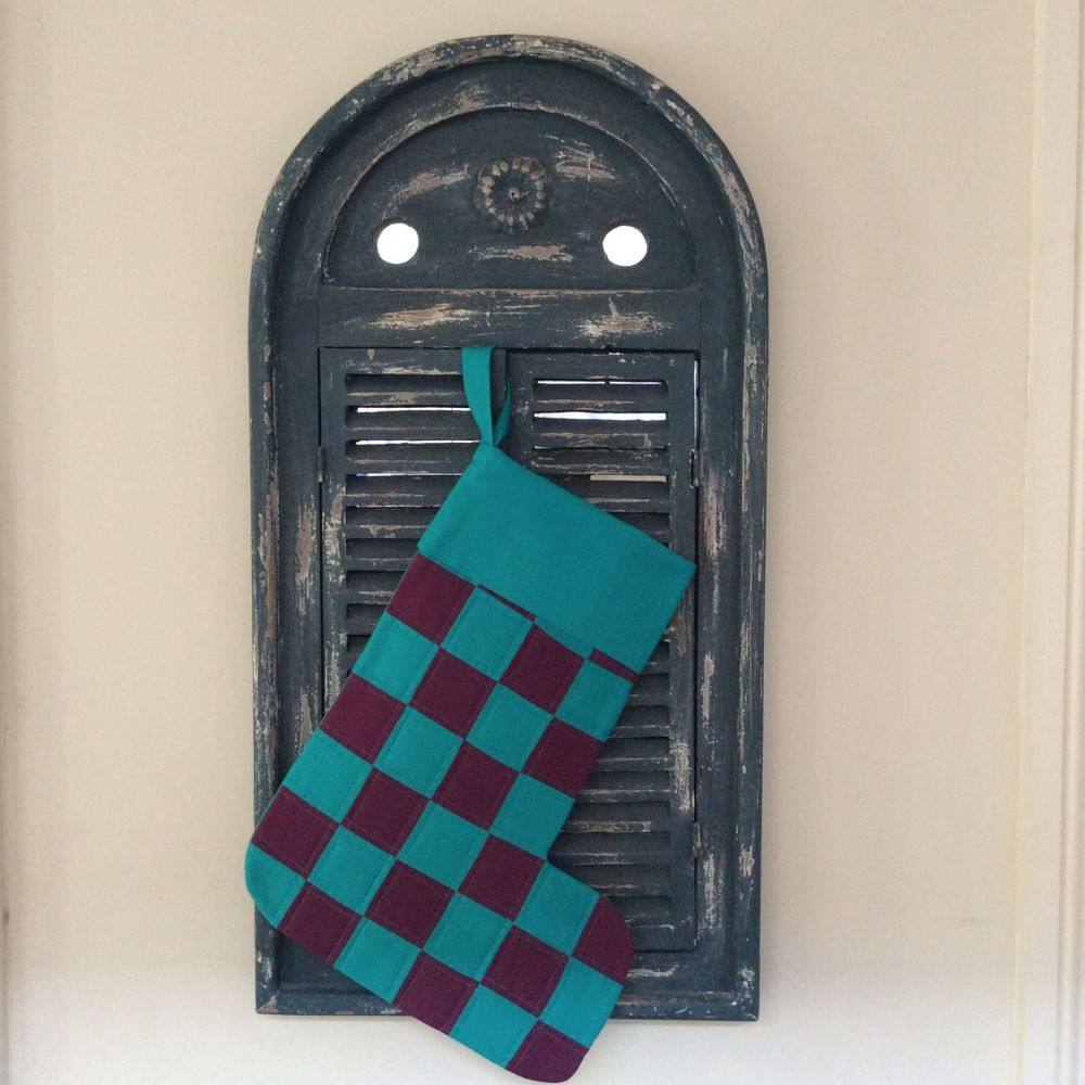 Purple and Turquoise Patchwork Christmas Stocking(1)