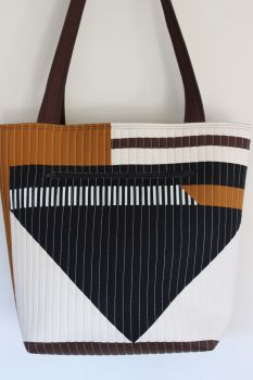 Pecan and Black Patchwork Quilted Tote Bag