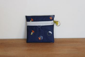 Blue Coin Purse with Key Ring (Grey Zipper)