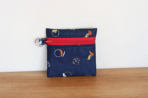Blue Coin Purse with Key Ring (Red Zipper)