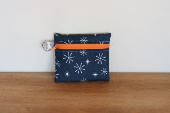 Blue Coin Purse with Key Ring (Orange Zipper)