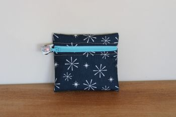 Blue Coin Purse with Key Ring (Light Blue Zipper)