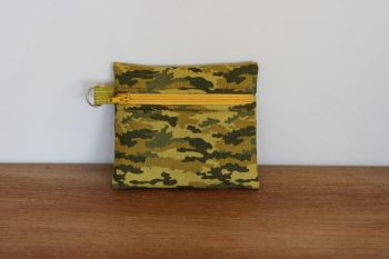 Khaki Coin Purse with Key Ring (Yellow Zipper)