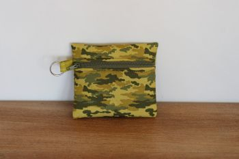 Khaki Coin Purse with Key Ring (Olive Green Zipper)