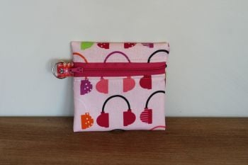 Pink Coin Purse with Key Ring (Dark Pink Zipper)