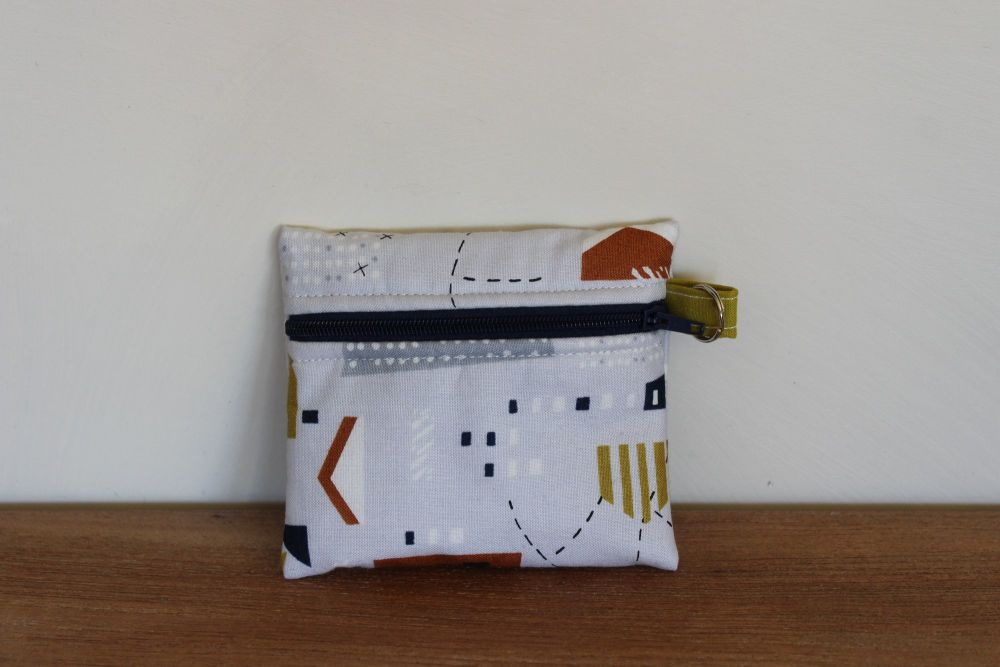 Grey Coin Purse with Key Ring (Mid Blue Zipper)