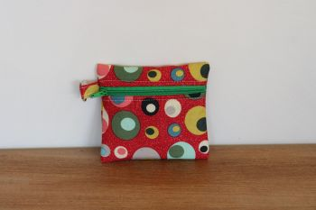 Red Coin Purse with Key Ring (Green Zipper)