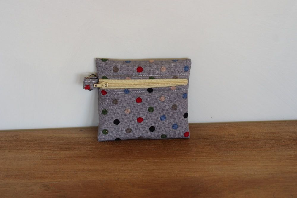 Grey Coin Purse with Key Ring (Butter Zipper)