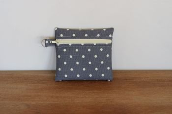 Grey Coin Purse with Key Ring (Cream Zipper)