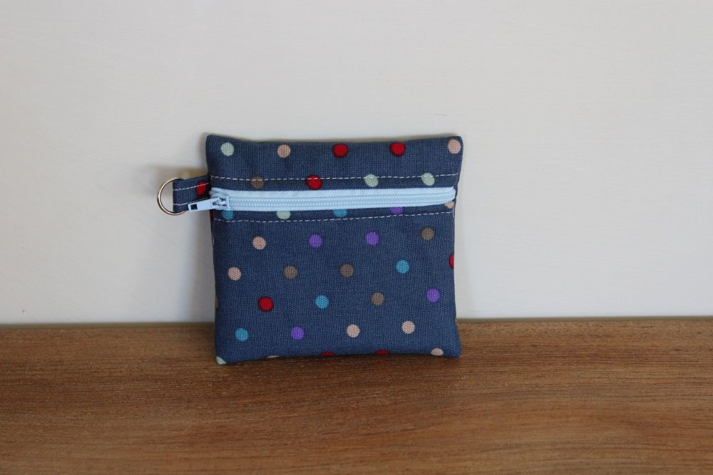 Blue Coin Purse with Key Ring (Pale Blue Zipper)