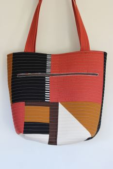 Pecan and Rust Patchwork Quilted Tote Bag