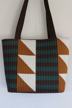 Pecan and Green Patchwork Quilted Tote Bag