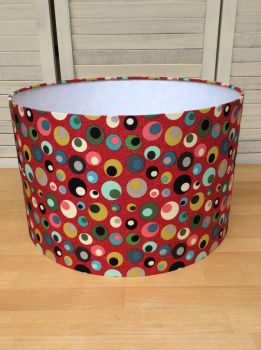 Mid Mod Circles in Red 40 cms Drum Lampshade