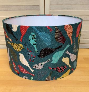 Mid Mod Birds in Teal 40 cms Drum Lampshade