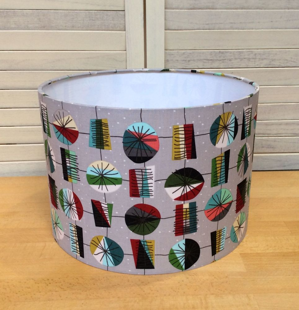 Mid Mod Birds in Main Gray 30 cms Drum Lampshade