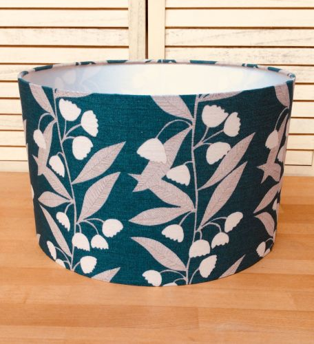 Leaves on Teal 40 cms Drum Lampshade