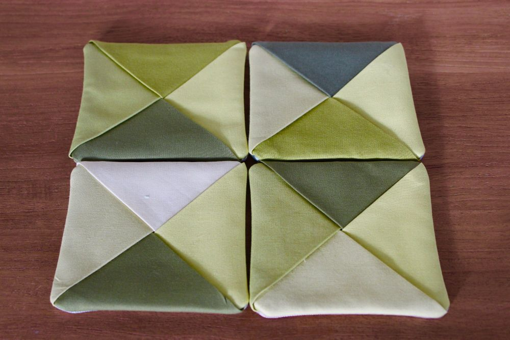 Set of Four Kona Cotton Folded Fabric Coasters(2)