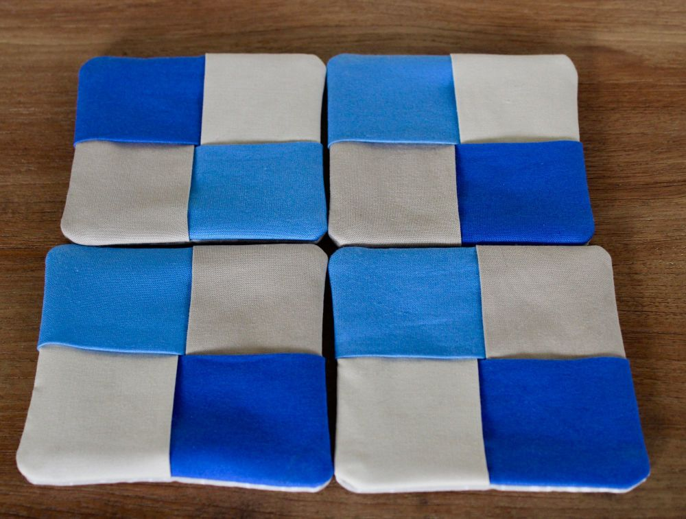 Set of Four Kona Cotton Folded Fabric Coasters(3)