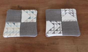 Pair of Folded Fabric Coasters (Grey)
