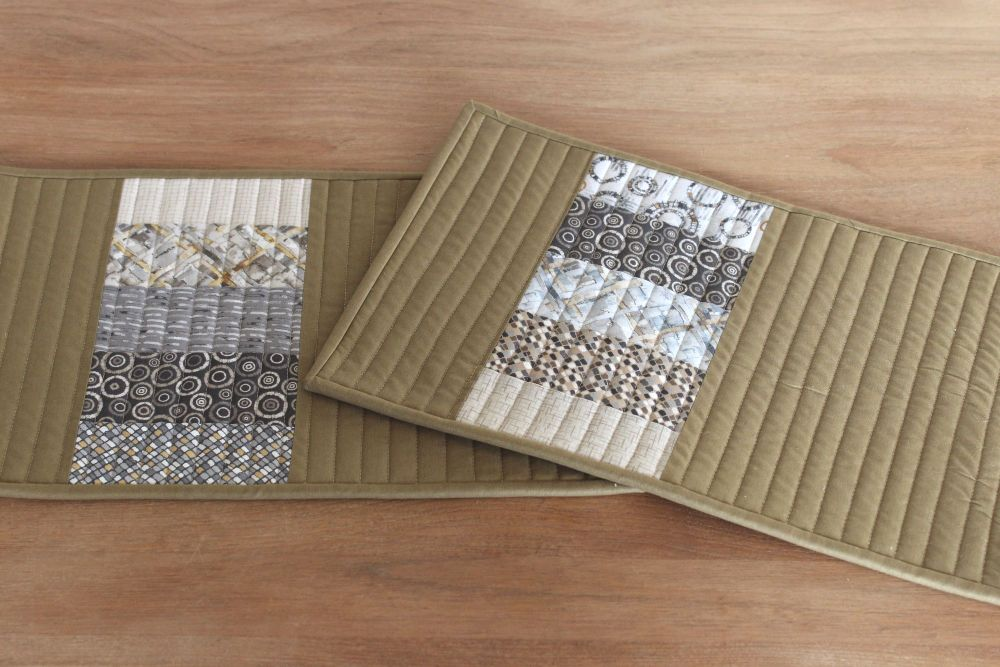 Set of Two Quilted Place Mats (MicroLife Textures - Khaki)(1)