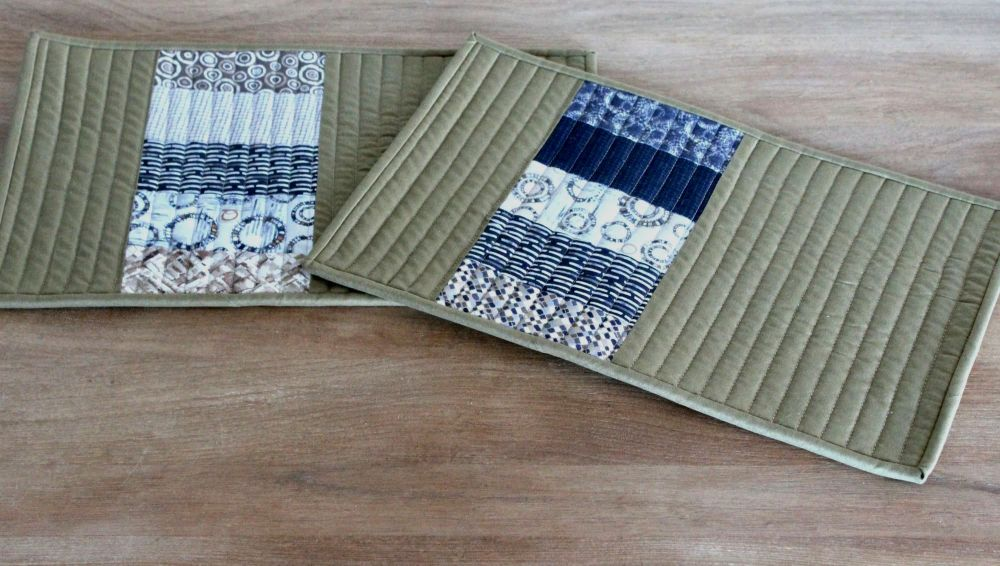 Set of Two Quilted Place Mats (MicroLife Textures - Khaki)(2)