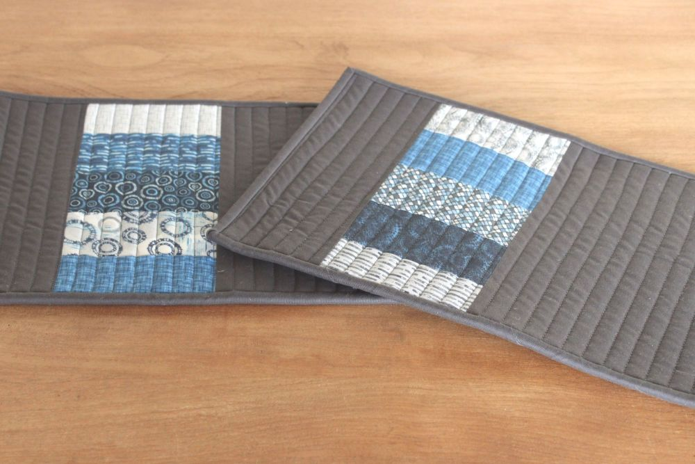 Set of Two Quilted Place Mats (MicroLife Textures - Blue)(7)