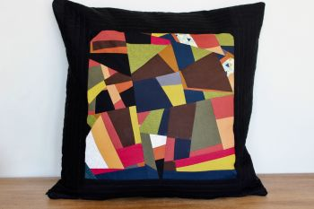 Abstract Quilted Envelope Cushion (Black)